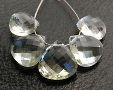 AAA Green Amethyst Faceted Heart Briolette Semi Precious Gemstone Beads 7-9mm.