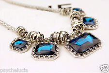 Sliver Fashion Bib Pendant Necklace Amazing Blue Red Clear Crystal
