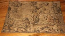VINTAGE FRENCH TAPESTRY SCENE 2 NOBLE HUNTERS & HUNTING DOGS