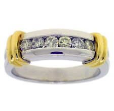 0.65ct MENS ROUND DIAMOND RING 14kt TWO-TONED GOLD