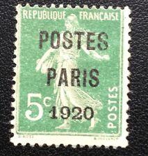 Preos N° 24 (Paris 1920) 5 c Vert Oblitéré TB Cote 170€
