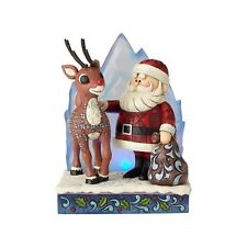 Jim Shore Rudolph Traditions Rudolph and Santa with Lighted Iceberg Nib