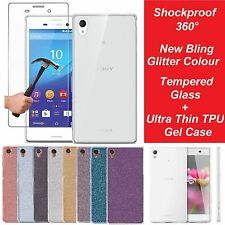 Ultra Slim Clear Glitter Gel Case Cover & Tempered Glass for Sony Xperia Phone