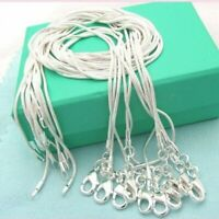 5Pcs Solid Silver Snake 1MM Chain Women Pendant Necklace Jewelry Size 16-24""