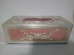 Vintage Victorian style Tissue Box Cover Pink silver roses ornate romantic flora