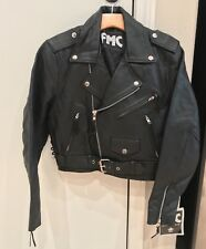 VINTAGE NWT FMC Mid Drift Cropped Black Leather Moto Motorcycle Jacket Medium