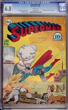 Superman #8 CGC 6.5 DC 1941 WHITE PAGES! Justice League! JLA! F8 951 1 cm