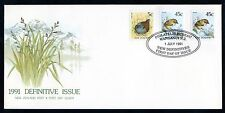 New Zealand 1991 FDC 45c Rock Wren Self-Adhesive x2, 5c Sooty Crake, Birds Theme