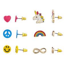 Face Novelty Multi Earring Set 6Pc Lux Accessories Goldtone Unicorn Emoji Smiley