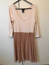 H&M Knit Dress SiZe S 8 Nude Beige Brown Tan 3/4 Sleeves Autumn