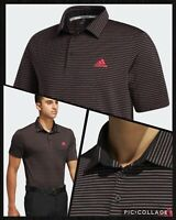 Adidas Golf Men's Ultimate Space Dye Striped Polo Shirt- Black / Pink / Emerald