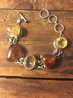 Vtg Large Baltic Amber & Citrine Chunky  Sterling Silver Bracelet Toggle clasp
