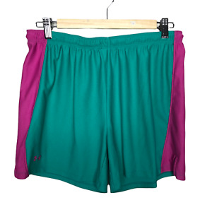 Under Armour Shorts Womens Large Teal Pink Elastic Waist Drawstring Athletic