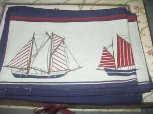Park Designs red beige blue cotton sail ship boat nautical beach napkins 5 lot