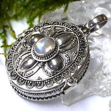 groß zauberhaftes Medaillon echt Mondstein 925 Silber Handgeschmiedet zum öffnen