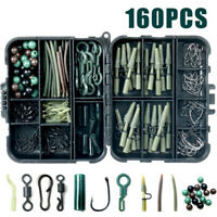160x Carp Fishing Tackle Accessories Kit Lead Clips Carp Swivels Hooks Beads  us
