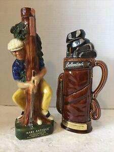 Vintage*Golf Themed Liquor Decanters*Golfer/Club Bag*Bourbon/Whisky*1971/1969