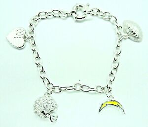 """NFL New Los Angeles Chargers Women's Charm Bracelet with Crystals 7.5 """" Long"""
