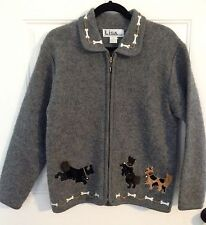 Beautiful! Dog Lover Boiled Wool Sweater Jacket With Dogs, Bones & Chain M CUTE!