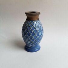 Metal Dipped 3D Fishscale Design Bud Vase Mini Vase Blue