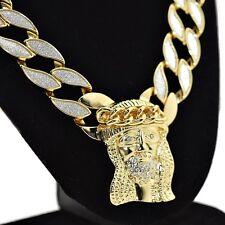 """Jesus Piece Sand Blast Bling Cuban Chain Gold Tone 18MM x 30"""" Hip Hop Necklace"""