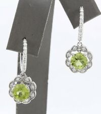 3.35 Carat Natural Green Peridot & Diamond 14K Solid White Gold Earrings