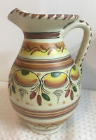"""VINTAGE HAND PAINTED MEXICAN POTTERY 8"""" PITCHER, VASE,  FOLK ART~ Signed '61"""