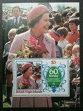 British Virgin Island 60th Birthday Queen Elizabeth 1986 (ms) MNH *SPECIMEN Rare