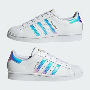 NEW Adidas SUPERSTAR Sneakers White IRIDESCENT Lace Up 11