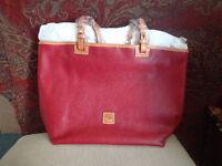 Dooney & Bourke Pebble Leather Medium E/W Tote Shopper Handbag Magenta/Cranberry