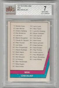 1977-78 OPC WHA #58 CHECKLIST CARD, GRADED BVG NEAR MINT 7