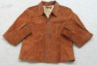 Liz Claiborne Suede Jacket Coat Women's Zip Front Polyester Lined Womans Size 12