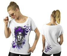 NWT WHITE LETHAL ANGEL DOD DAY OF THE DEAD BUTTERFLIES PURPLE METALLIC LARGE LG