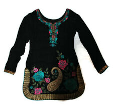 LADIES VINTAGE EMBROIDERED BLACK TOP TUNIC SIZE S?
