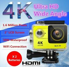 New 4K 2'' LCD Ultra HD WiFi Sports Action Camera HDMI Video 1080P 2xBatteries
