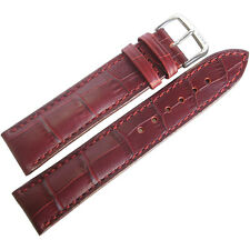 20mm RIOS SHORT Louisiana Burgundy Alligator-Grn Leather German Watch Band Strap