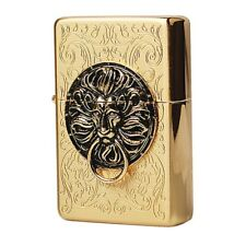 Zippo Lighter THE GATE GOLD Satin Polish Tiger Ring Emblem Antique Windproof USA