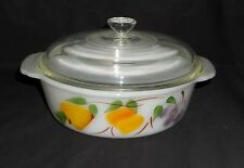 """Fire King GAY FAD FRUITS *8""""- 1.5 QT CASSEROLE w/CLEAR LID*PEACHES*PEARS*GRAPES*"""