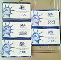 US Mint Proof Sets 1999-S / 2000-S / 2001-S / 2002 & 3 S  W/BOX&COA (SET OF 5)