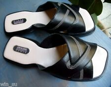 JEAN PAUL BARRIOL~ACCESSOIRE PARIS~Sz 40 EU~9-10~BLK LEATHER Flat Slides Sandals