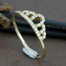 Genuine 18CT Solid Yellow Gold Diamond Crown Ring