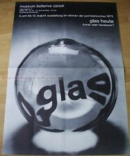 SWISS EXHIBITION XXL POSTER 1972 - GLASS TODAY - ART OR HANDICRAFT bellerive