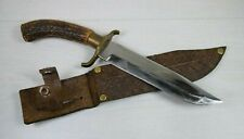 Antique Handmade Collectible Military Big Hunting Knife Dagger Leather Sheath