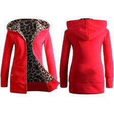 Lady Women Velvet Thickened Hooded Sweater Leopard Zipper Winter Coat Outwear US