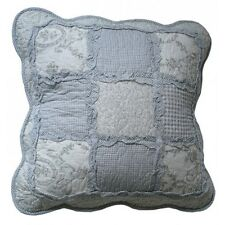 "Shabby Chic Blue Grey Throw Cushion Pillow Sham Cover Scalloped 45x45cm 17.5""sq"