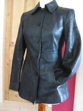 Ladies M&S black leather JACKET COAT BLAZER UK 12 petite short tooled tailored