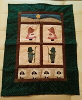 Hand made Hand Quilted Christmas Dutch Doll Girl Boy Wall Hanging Mini Quilt
