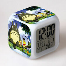 Anime Totoro LED Digital Alarm Clock 7 Colors Change Calendar & Thermometer Gift