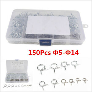 150Pcs Fuel Line Hose Spring Clip Pipe Tube Clamp  Φ5-Φ14 Kits For Motorcycle