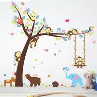 Monkey tree wall stickers decals Cartoon mural art Wall poster children gift